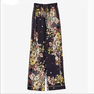 Zara | Black floral palazzo pants wide leg
